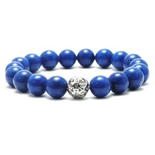 Women's 10mm King Blue Natural Beads Stretch Bracelet
