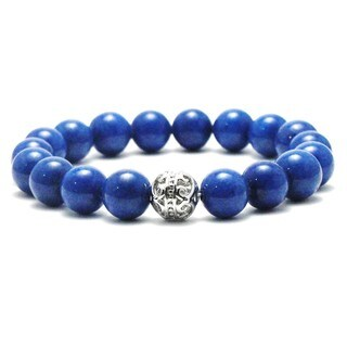 AALILLY Women's 10mm King Blue Natural Beads Stretch Bracelet