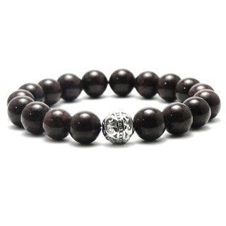 Women's Natural Brown 10-millimeter Beads Stretch Bracelet