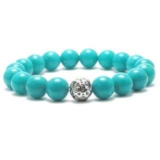 AALILLY Women's 10mm Turquoise Natural Beads Stretch Bracelet