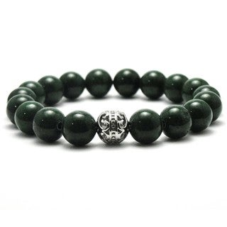 Women's Natural Green Beads 10mm Stretch Bracelet