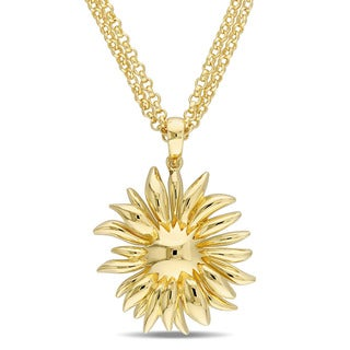 V1969 ITALIA Logo Flower Necklace in 18K Yellow Gold Plated Sterling Silver