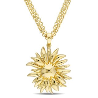 V1969 Italia Logo Flower Necklace In Yellow Gold Plated Sterling Silver