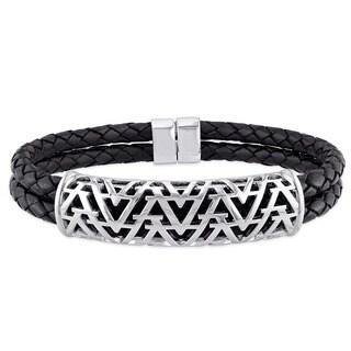 V1969 ITALIA Leather Cord Bangle Bracelet in Sterling Silver