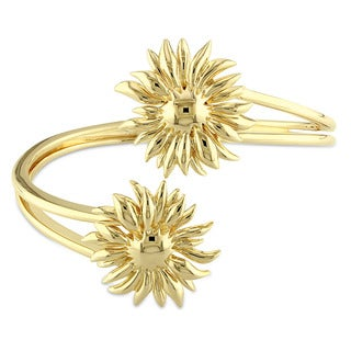 V1969 Italia Logo Flower Bangle Bracelet In Yellow Gold Plated Sterling Silver