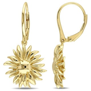 V1969 ITALIA Logo Flower Leverback earrings in 18K Yellow Gold Plated Sterling Silver