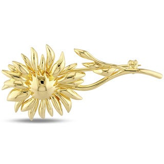 V1969 Italia Logo Flower Brooch In Yellow Gold Plated Sterling Silver