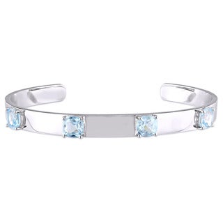 V1969 ITALIA Blue Topaz Bangle Bracelet in Sterling Silver