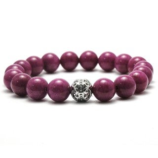 Women's 10mm White and Purple Natural Beaded Stretch Bracelet