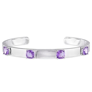 V1969 ITALIA Amethyst Bangle Bracelet in Sterling Silver