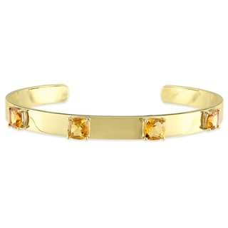 V1969 ITALIA Citrine Bangle Bracelet in 18k Yellow Gold Plated Sterling Silver