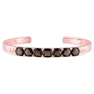 V1969 ITALIA Smokey Quartz Bangle Bracelet in 18k Rose Gold Plated Sterling Silver