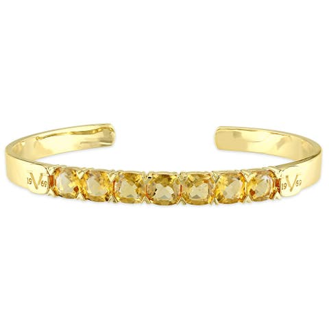 Miadora Citrine Bangle Bracelet In Yellow Plated Sterling Silver