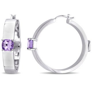 V1969 ITALIA Amethyst Logo Mark Hoop Earrings in Sterling Silver