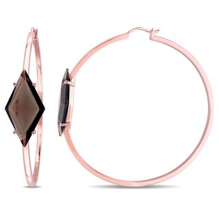 V1969 ITALIA Smokey Quartz Prism Hoop Earrings in Rose Plated Sterling Silver