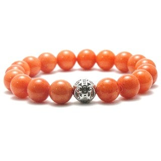 Women's 10mm Orange Natural Beads Stretch Bracelet