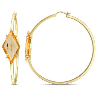V1969 ITALIA Citrine Prism Hoop Earrings in Yellow Plated Sterling Silver