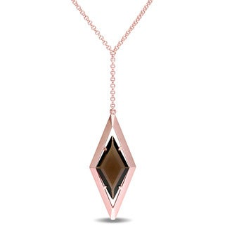 V1969 ITALIA Smokey Quartz Prism Necklace in 18K Rose Gold Plated Sterling Silver