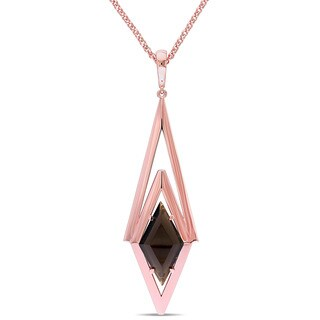 V1969 ITALIA Smokey Quartz Prism Necklace in Rose Gold Plated Sterling Silver