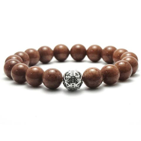 AALILLY Women's 10mm Brown Natural Beads Stretch Bracelet