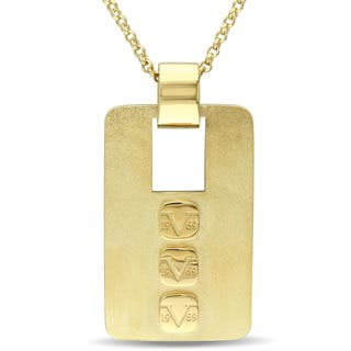 V1969 Italia Men'S Logo Mark Necklace In Yellow Gold Plated Sterling Silver|https://ak1.ostkcdn.com/images/products/12327956/P19159895.jpg?impolicy=medium