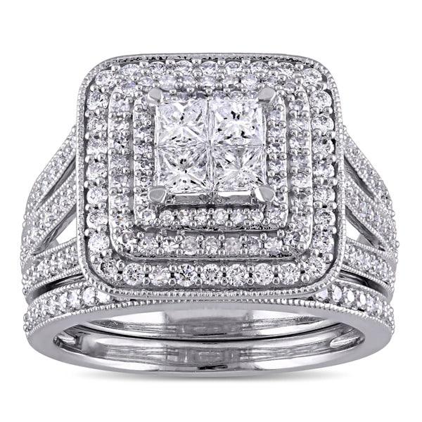 Miadora Signature Collection 14k White Gold 1 1/2ct TDW Princess and Round Diamond Cluster Double Halo Bridal Set (G-H, I1-I2)
