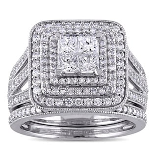 Miadora Signature Collection 14k White Gold 1 1/2ct TDW Princess and Round Diamond Cluster Double Halo Bridal Set (G-H, I1-I2)