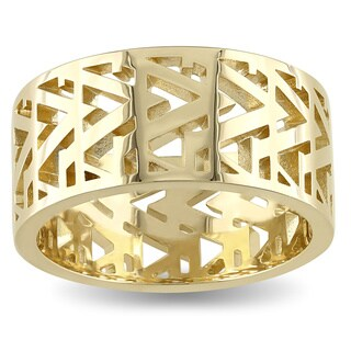 V1969 ITALIA Men's Openwork Ring in 18k Yellow Gold Plated Sterling Silver