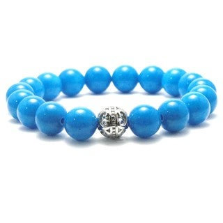 Women's 10mm Blue Natural Beads Stretch Bracelet
