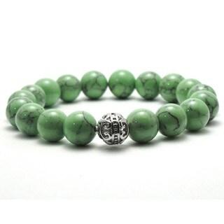 Women's 10mm Green Black Texture Natural Beads Stretch Bracelet