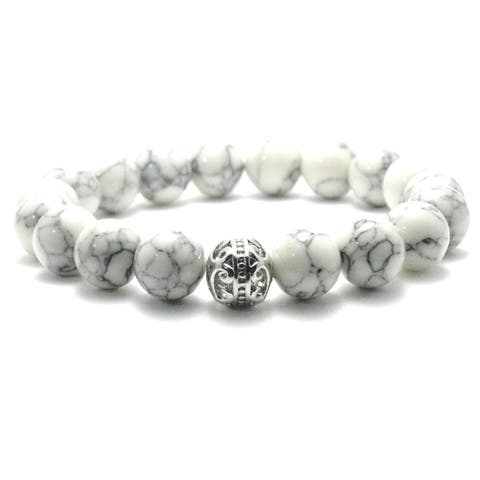 AALILLY Women's 10mm White and Black Texture Natural Beads Stretch Bracelet