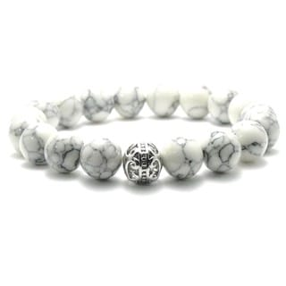 Women's 10mm White and Black Texture Natural Beads Stretch Bracelet