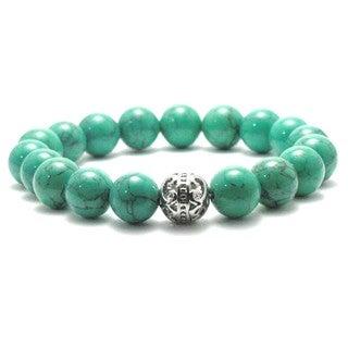 Women's 10mm Green Natural Beads Stretch Bracelet