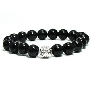 Women's 10mm Black Natural Beads Stretch Bracelet