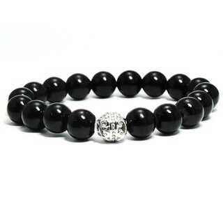 AALILLY Women's 10mm Black Natural Beads Stretch Bracelet