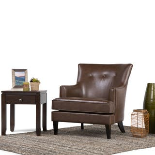 WYNDENHALL London Distressed Brown Faux Air Leather Club Chair|https://ak1.ostkcdn.com/images/products/12328029/P19159964.jpg?impolicy=medium