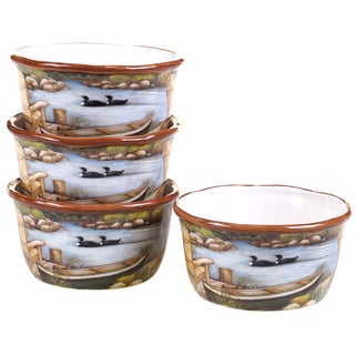 Certified International Lake Life Ceramic 5.5-inch Ice Cream Bowls (Pack of 4)