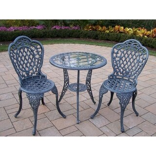 Dakota Tempered Glass Top Cast Aluminum 3-piece Bistro Set