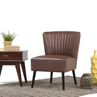 WYNDENHALL Addison Distressed Brown Faux Air Leather Club Chair