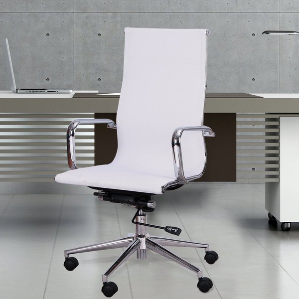 Adeco High Back Adjustable White Mesh Desk Chair