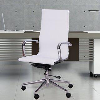 Adeco High Back Adjustable White Mesh Desk Chair