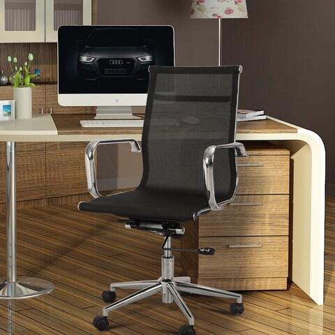 Adeco Mid-Back Adjustable Black Mesh Desk Chair