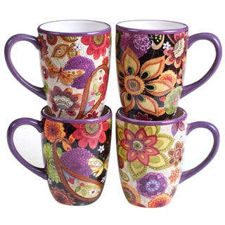 Certified International Coloratura Assorted Design Mugs (Set of 4)