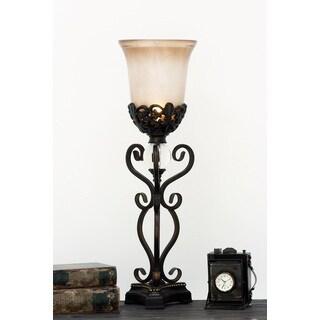 Urban Designs Amalia Espresso Metal/Polyresin Torchiere Uplight Table Lamp (Set of 2)