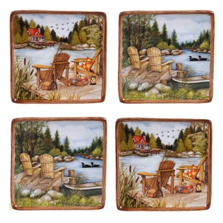 Certified International Lake Life Assorted Design 6-inch Canape Plate (Set of 4)
