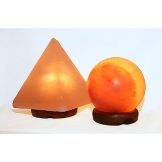 Accentuations by Manhattan Comfort 5-inch Sphere Shaped Himalayan Salt Lamp 1.5 and 9-inch Pyramid Lamp with Dimmer