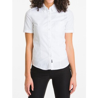Lee Juniors White Cotton Short Sleeve Oxford Blouse