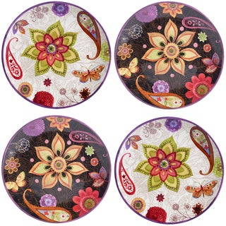 Certified International Coloratura Assorted Design 8.75-inch Salad/Dessert Plates (Set of 4)