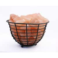 Accentuations by Manhattan Comfort 9-inch Himalayan Wired Basket Lamp With Natural Rocks