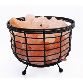 Accentuations by Manhattan Comfort 8-inch Himalayan Wired Basket Lamp 1.0 with Natural Rocks and Dimmer